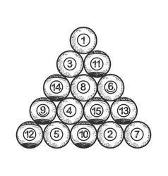 Billiard balls sketch vector