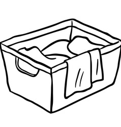 Black and white laundry basket vector