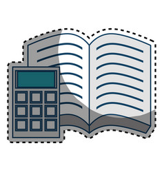 Book school with calculator supply icon vector