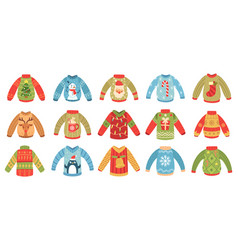 cartoon christmas ugly sweaters xmas holidays vector image