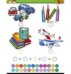 Cartoon math task for kids vector
