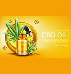 Cbd oil banner mockup hemp cannabinoid extract vector