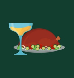 champagne and roasted turkey vector image