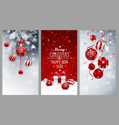 Christmas banners set with fir branches red balls vector