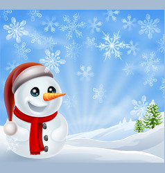 christmas snowman in winter scene vector image
