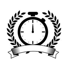 Chronometer watch emblem icon vector
