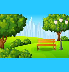 city park bench with green tree and town buildings vector image