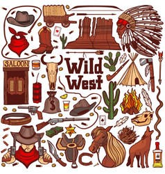 Colored wild west set in hand drawn style vector