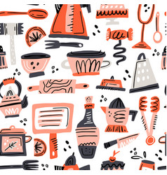 Cooking flat hand drawn seamless pattern vector