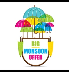 Creative big monsoon offer sale banner or poster vector