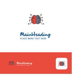creative brain logo design flat color logo place vector image