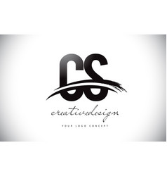 Cs c s letter logo design with swoosh and black vector