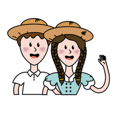 cute brazilian couple with hat and typical clothes vector image
