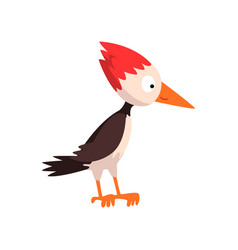 Cute funny woodpecker bird cartoon character side vector