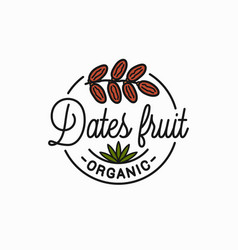 Dates fruit logo round linear dates branch vector