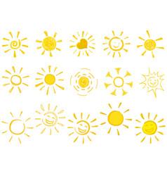 drawn sun icons vector image