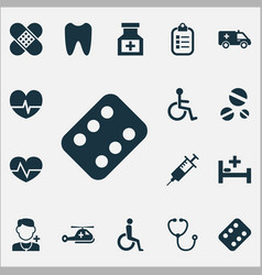 drug icons set collection of device tent mark vector image vector image
