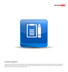 edit document icon - 3d blue button vector image