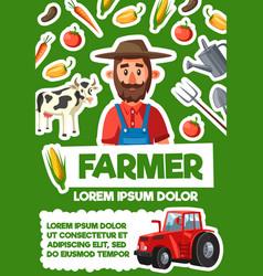 Farmer harvest and agriculture vector