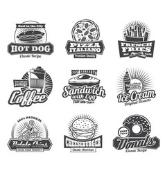 fast food restaurant or bistro icons vector image