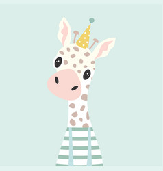 Festive card with giraffe vector