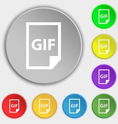 File GIF icon sign Symbol on eight flat buttons vector image