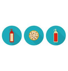 flat pizza ketchup bottle mayo bottle vector image