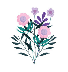 flowers leaves foliage nature decoration isolated vector image