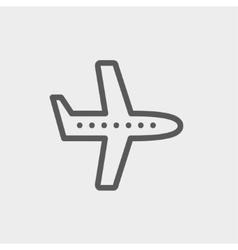 Flying airplane thin line icon vector image
