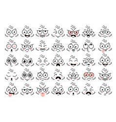 Funny face eye parts with expressions emotion vector