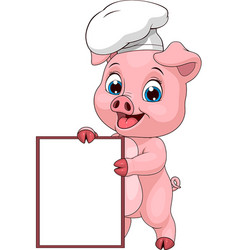 Funny pig chef vector