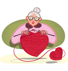 Grandmother who knits a heart shape vector