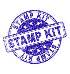 grunge textured stamp kit stamp seal vector image