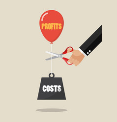 Hand cutting profits balloon and costs weight vector