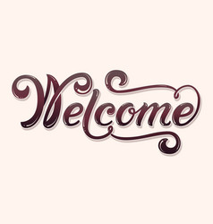hand drawn lettering welcome with shadow and vector image