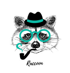 hand drawn sketch raccoon hipster head isolated vector image