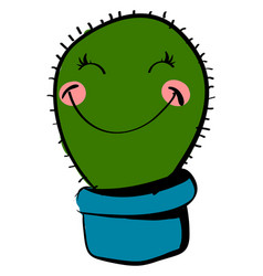 happy cactus on white background vector image