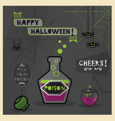 Happy halloween card - pick your spooky poison vector