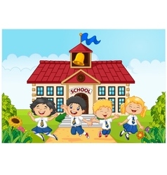 Happy school kids in front of school bilding vector