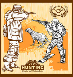 hunters with dogs - retro clipart vector image