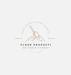icon and logo for natural flour product and vector image