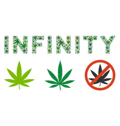 Infinity text composition of hemp leaves vector