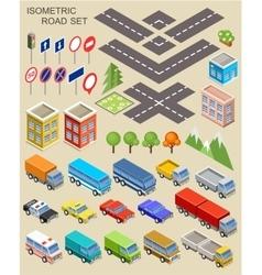 Isometric city set vector image