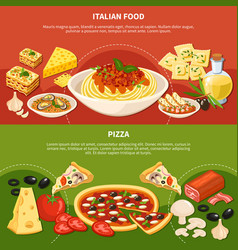 italian dishes horizontal banners vector image