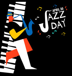 Jazz day card of saxophone player in concert vector