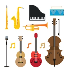 Jazz Music Instruments Objects Set vector image
