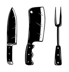kitchen appliances knife meat cleaver fork design vector image