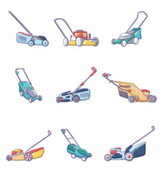 Lawnmower grass garden icons set cartoon style vector