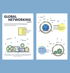 line art global networking poster template vector image