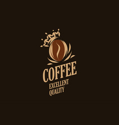Logo crown on a coffee bean isolated vector
